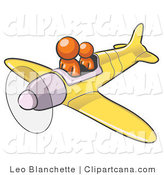 Clip Art of Orange Men Flying a Plane by Leo Blanchette