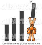 Clip Art of Orange Men Holding up a Bar Graph by Leo Blanchette