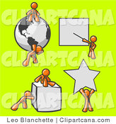 Clip Art of Orange Men with Shapes by Leo Blanchette
