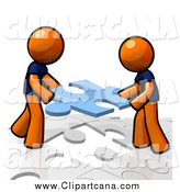 Clip Art of Orange Men Working Together and Assembling a Puzzle by Leo Blanchette