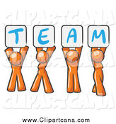 Clip Art of Orange People Holding up Team Signs by Leo Blanchette
