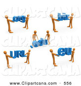 Clip Art of Teams of Orange People Carrying Dot Org, Edu, Biz, URL, and Eu by 3poD