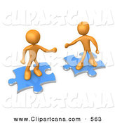 Clip Art of Two Orange People on Blue Puzzle Pieces over White by 3poD