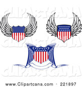 Clip Art of Winged American Flag Shields by Vector Tradition SM