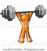 Orange Man Lifting Weights with a Barbell by Leo Blanchette