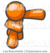 Orange Man with No Face Bowing by Leo Blanchette
