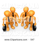 October 12nd, 2013: Vector Cartoon Clip Art of a Group of Orange Business People Carrying Briefcases and Standing with Their Hands Piled, Symbolizing Teamwork by 3poD