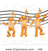 Vector Cartoon Clip Art of a Group of Three Orange People with Music Note Heads, Listening to Headphones over a Music Staff Background by 3poD