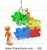 Vector Clip Art of 3d Orange Men Directing a Hoisted Puzzle Piece into a Space by 3poD