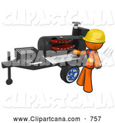 Vector Clip Art of a 3d Orange Worker Man Grilling Ribs on a Bbq by Leo Blanchette