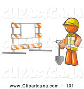 Vector Clip Art Of A Average Orange Man Construction Worker In Yellow Vest And Hardhat