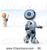 Vector Clip Art of a Blue and White AO-Maru Robot Being Controlled by an Inventor with a Remote Control on White by Leo Blanchette