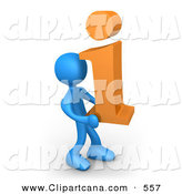 Vector Clip Art of a Blue Man Carrying an Orange I for Information to the Right by 3poD