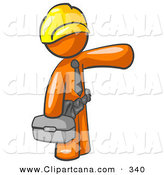 Vector Clip Art of a Busy Orange Man, a Construction Worker, Handyman or Electrician, Wearing a Yellow Hardhat and Tool Belt and Carrying a Metal Toolbox While Pointing to the Right by Leo Blanchette