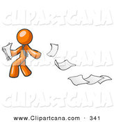 Vector Clip Art of a Carefree Orange Man Dropping White Sheets of Paper on a Ground and Leaving a Paper Trail, Symbolizing Waste by Leo Blanchette