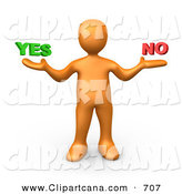 Vector Clip Art of a Careful Uncertain Orange Person Shrugging and Weiging out the Options of Yes or No by 3poD