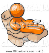 Vector Clip Art of a Chubby and Lazy Orange Man with a Beer Belly, Sitting in a Recliner Chair with a TV Remote by Leo Blanchette