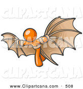 Vector Clip Art of a Determined Shiny Orange Man Strapped in Glider Wings, Prepared to Make Flight by Leo Blanchette