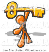 Vector Clip Art of a Excited Orange Businessman Holding up a Large Golden Skeleton Key Above His Head by Leo Blanchette