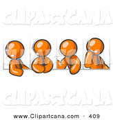 Vector Clip Art of a Four Different Orange Office Men Wearing Headsets During a Phone Meeting by Leo Blanchette