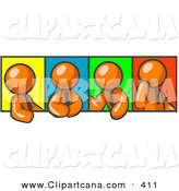 Vector Clip Art of a Four Orange Men in Different Poses Against Colorful Backgrounds, Perhaps During a Meeting or Office Conversation by Leo Blanchette
