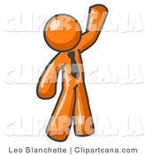 Vector Clip Art of a Friendly Orange Businessman Greeting and Waving by Leo Blanchette
