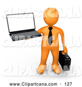 Vector Clip Art of a Friendly Orange Businessman with a Black Tie, Holding a Laptop and Carrying a Briefcase by 3poD