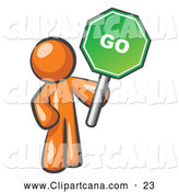 Vector Clip Art of a Friendly Orange Man Holding up a Green Go Sign, on a White Background by Leo Blanchette