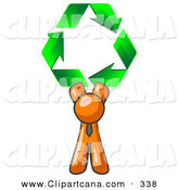 Vector Clip Art of a Friendly Orange Man Holding up Three Green Arrows Forming a Triangle and Moving in a Clockwise Motion, Symbolizing Renewable Energy and Recycling by Leo Blanchette