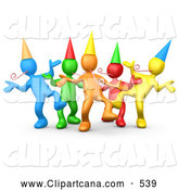 September 13th, 2013: Vector Clip Art of a Group of Colorful People Wearing Party Hats and Blowing Noise Makers While Dancing at a Birthday or New Years Eve Party by 3poD