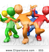 Vector Clip Art of a Group of Five Different Colored and Diverse People Dancing and Having Fun at a Party or Club by 3poD