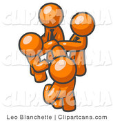 Vector Clip Art of a Group of Four Orange Businessmen Going in Together on a Deal by Leo Blanchette