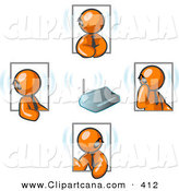 Vector Clip Art of a Group of Four Orange Businessmen Holding a Phone Conference and Wearing Wireless Bluetooth Communication Headsets by Leo Blanchette