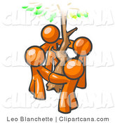 Vector Clip Art of a Group of Happy Orange Men Standing in a Circle Around a Tree by Leo Blanchette