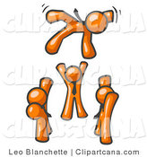 Vector Clip Art of a Group of Orange Businessmen Tossing Another into the Air by Leo Blanchette