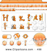 Vector Clip Art of a Group of Orange Man Web Design Kit with Tabs, Icons and Web Buttons by Leo Blanchette