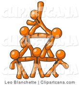 Vector Clip Art of a Group of Six Orange Businessmen Piling up to Form a Pyramid by Leo Blanchette