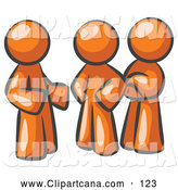 Vector Clip Art of a Group of Three Orange Businesspeople Talking at the Office by Leo Blanchette