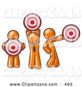 Vector Clip Art of a Group of Three Orange Men Holding Red Bullseye Targets in Different Positions by Leo Blanchette