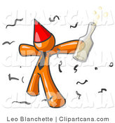 Vector Clip Art of a Happy Orange Businessman Partying with a Party Hat, Confetti and a Bottle of Liquor by Leo Blanchette