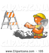 Vector Clip Art of a Hard Working Orange Man Wearing a Vest and Hardhat Standing in a Hole While Digging with a Shovel in a Construction Zone by Leo Blanchette