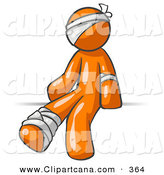 Vector Clip Art of a Hurt Orange Man Sitting in the Emergency Room After Being Bandaged up on the Head, Arm and Ankle Following an Accident by Leo Blanchette