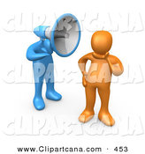 Vector Clip Art of a Ignorant Orange Person in Thought, Chosing Not to Believe or Listen to What the Blue Insisting Megaphone Headed Person Is Yelling by 3poD
