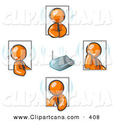Vector Clip Art of a Laid Back Orange Men Holding a Phone Meeting and Wearing Wireless Headsets by Leo Blanchette