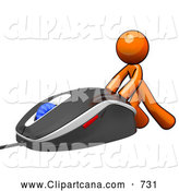 Vector Clip Art of a Little Orange Man Pushing a Computer Mouse by Leo Blanchette