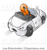 Vector Clip Art of a Male Orange Businessperson Talking on a Cell Phone While Driving in a Convertible Car by Leo Blanchette