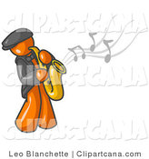Vector Clip Art of a Musical Orange Musician Man Playing Jazz with a Saxophone by Leo Blanchette