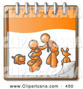 Vector Clip Art of a Orange Family Showing a Man Kneeling Beside His Wife and Newborn Baby with Their Dog and Cat on a Calendar Page, Symbolizing Family Planning by Leo Blanchette