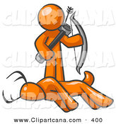 Vector Clip Art of a Orange Man, a Hunter, Holding a Bow and Arrow over a Dead Buck Deer on White by Leo Blanchette