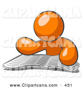 Vector Clip Art of a Orange Man Character Seated and Examining the Daily Newspaper to Brush up on Current Events by Leo Blanchette